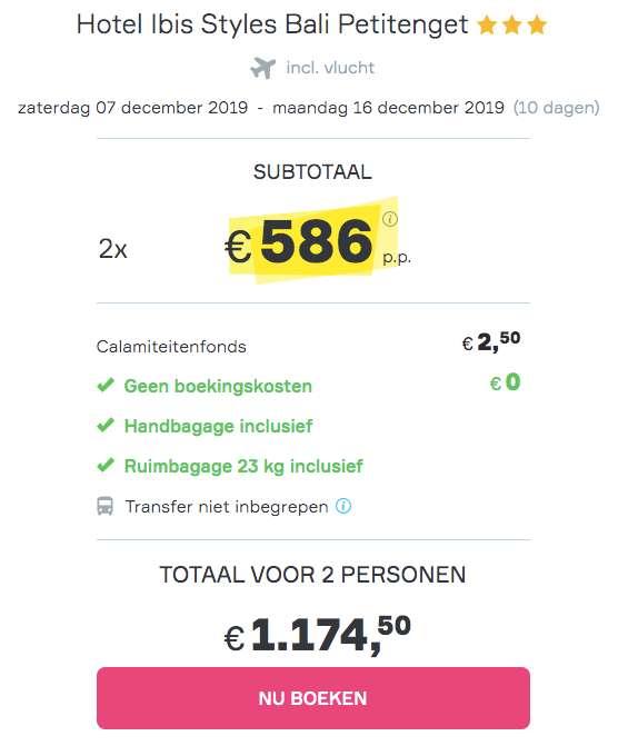 10 dagen Bali voor €586