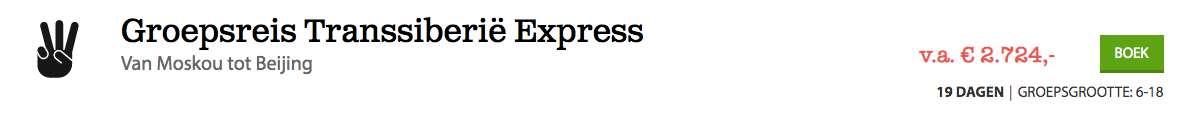 19 dagen Transsiberieë Express