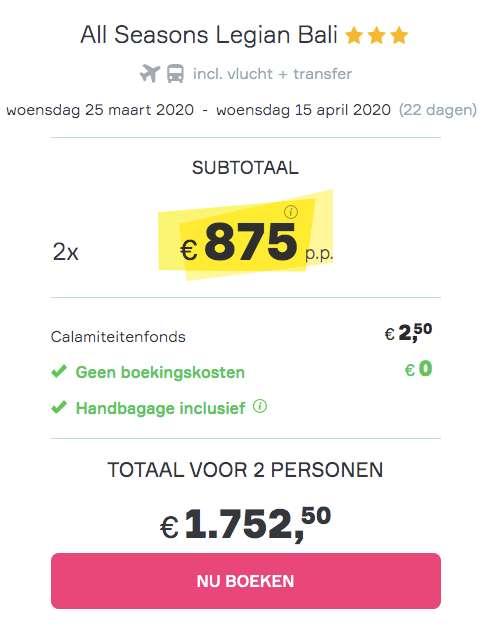 22 dagen Bali €875
