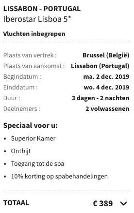 3 dagen Lissabon €187