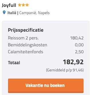 3 dagen Napels = €90