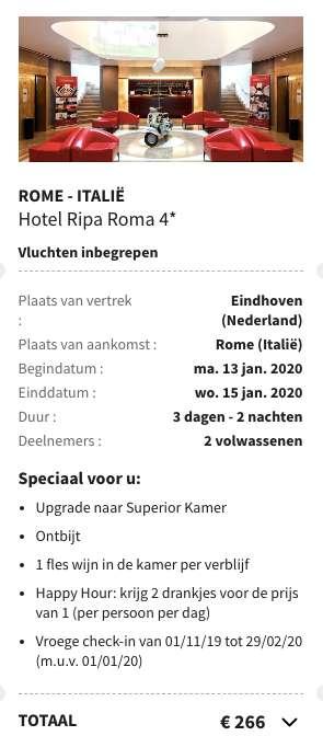 3 dagen Rome €114