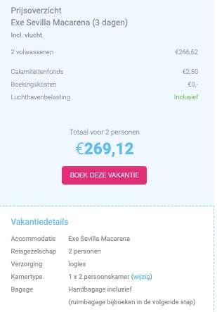 3 dagen Sevilla €135