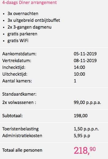 4 dagen de Wasper Herberg €99