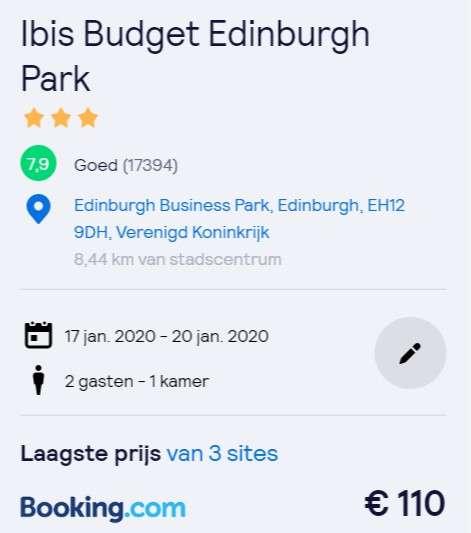 4 dagen Edinburg €55