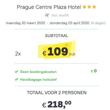4 dagen Praag €109