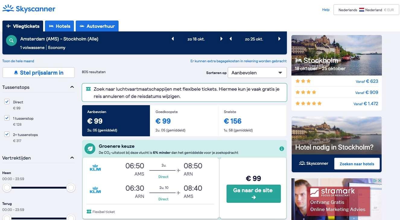 Vliegticket Skyscanner Nederland