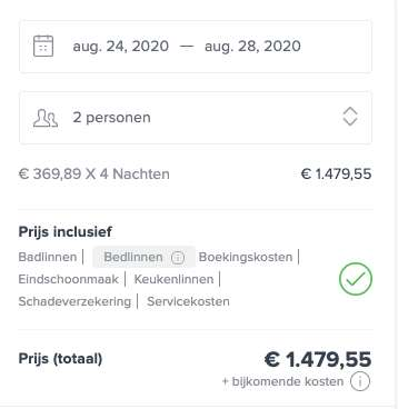 5 dagen Vlissingen €247 p.p.