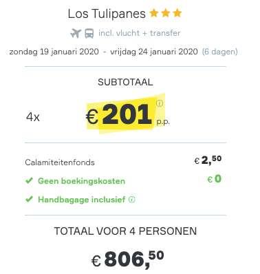 6 dagen Lanzarote €201