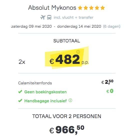 6 dagen Mykonos €482