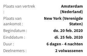 6 dagen New York = €482