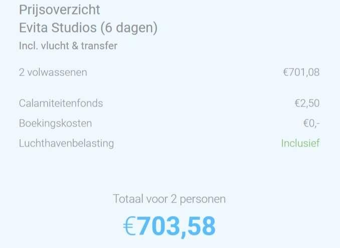 6 dagen Rhodos €350