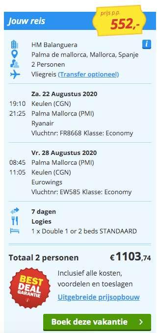 7 dagen Mallorca €552