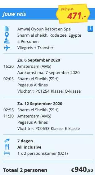 7 dagen naar Egypte voor €471
