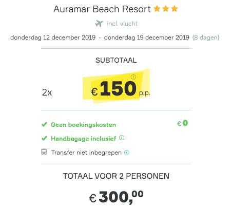 8 dagen Algarve €150