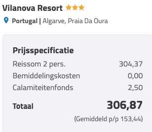8 dagen Algarve €152