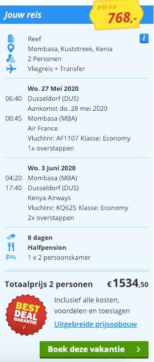 8 dagen Kenia = €768