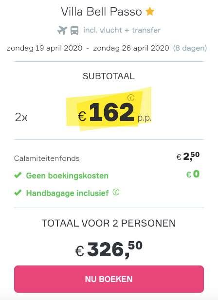 8 dagen Kos = €162