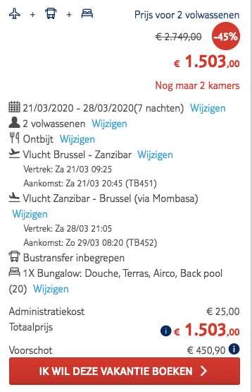 8 dagen naar Zanzibar voor €739