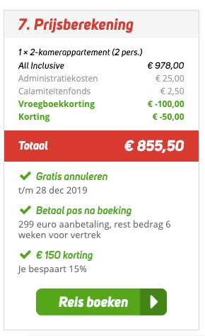 8 dagen Tenerife = €414