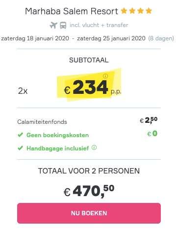 8 dagen Tunesië €234