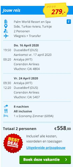 8 dagen Turkije = €279