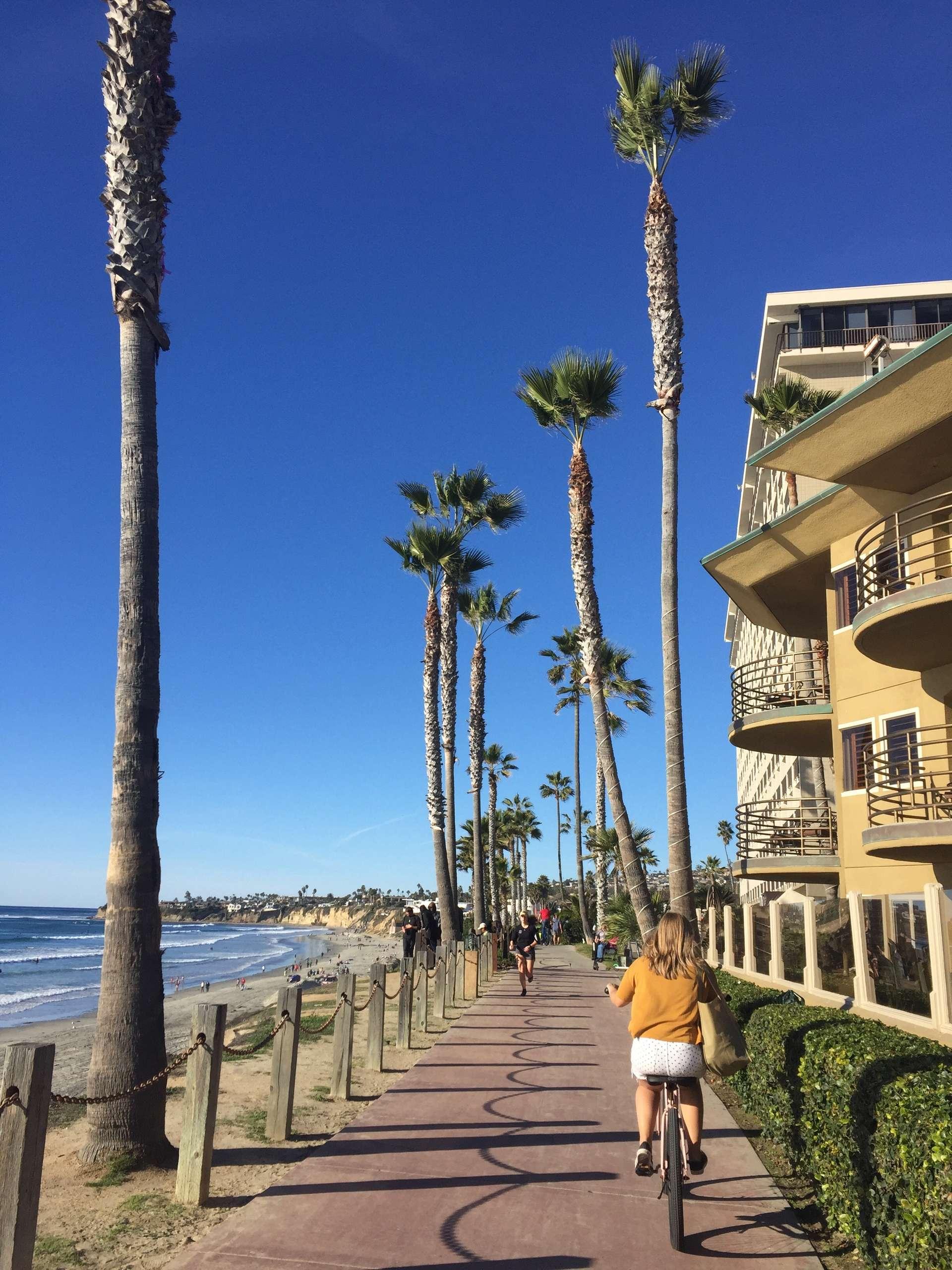 Amerika, San Diego, fietsen langs de kust