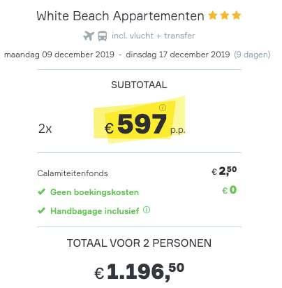 9 dagen Aruba €597