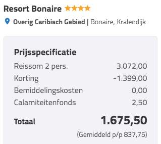 9 dagen Bonaire €836