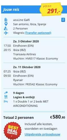 9 dagen Ibiza €291