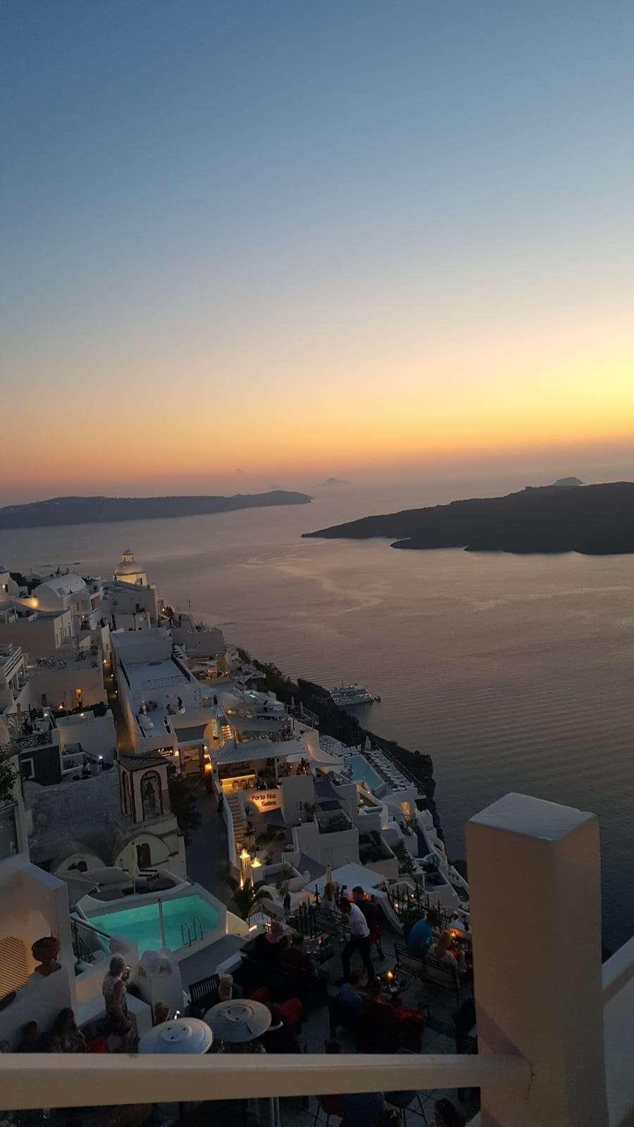 Griekenland, Santorini, uitzicht Fira