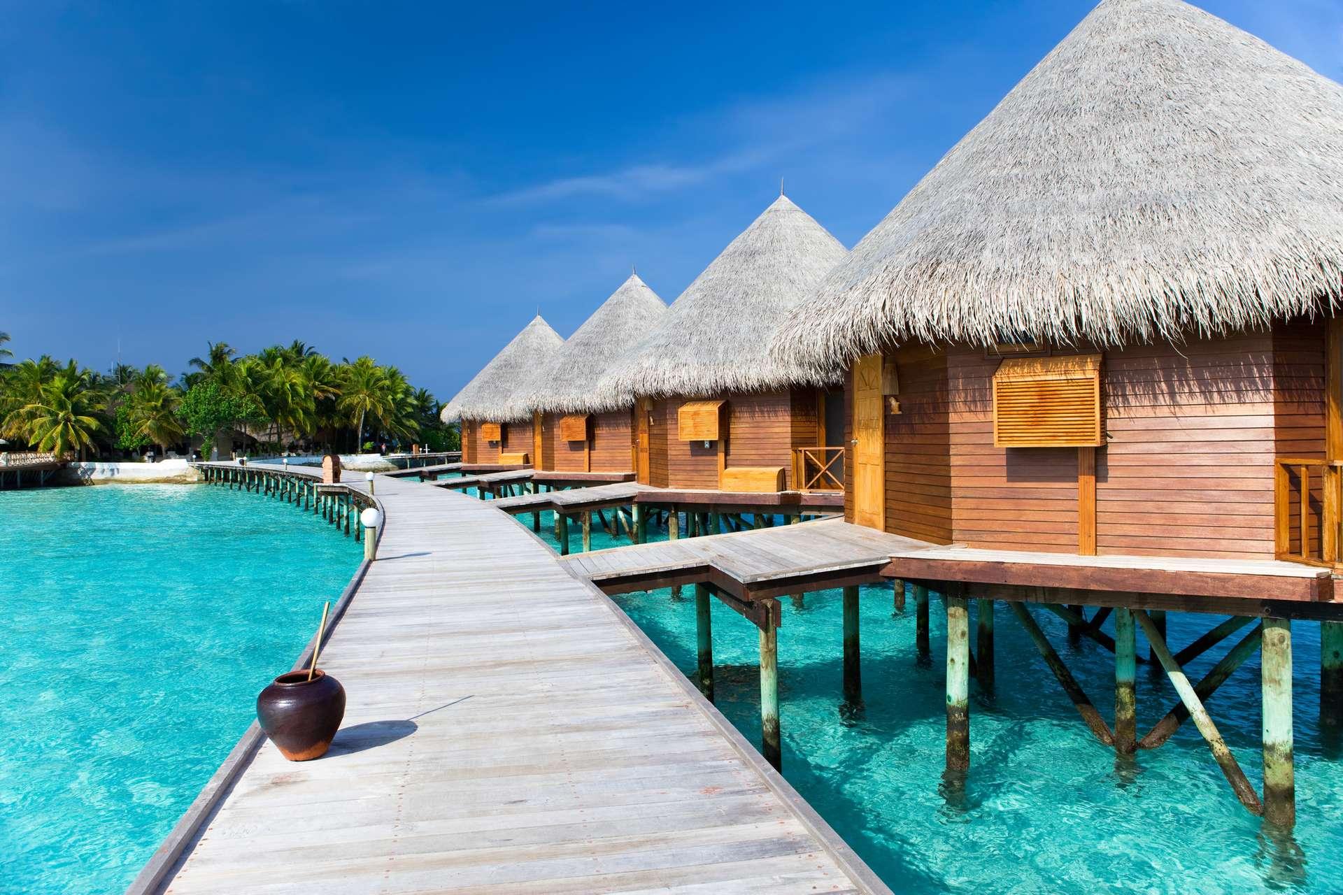 Malediven strand zee hut