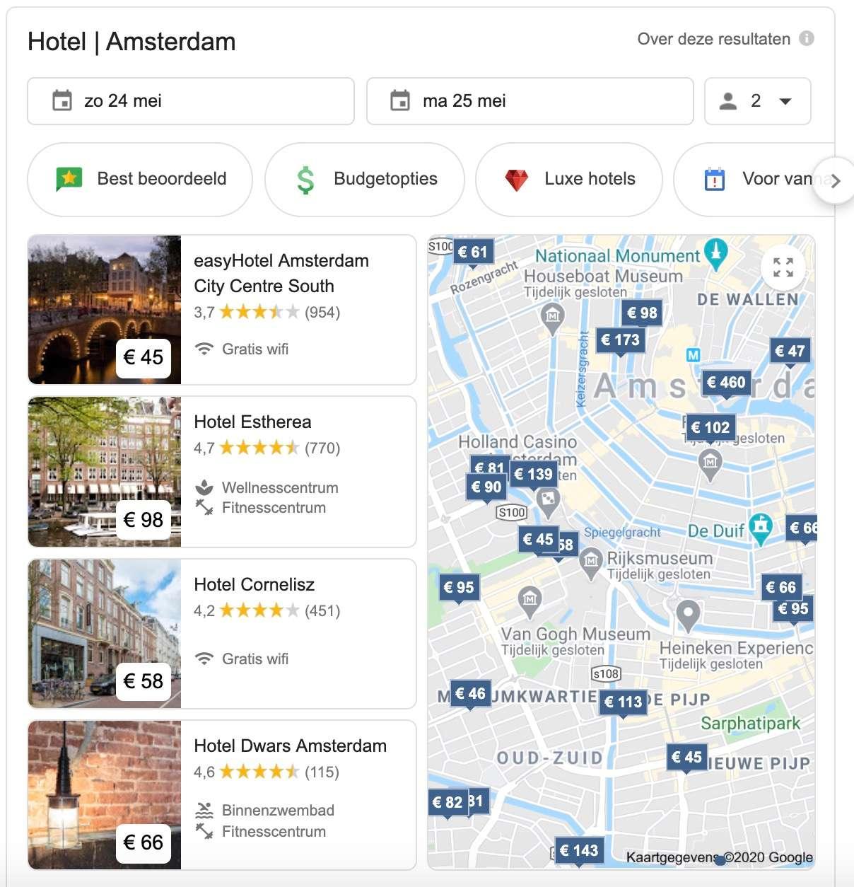 Hotel zoeken met Google
