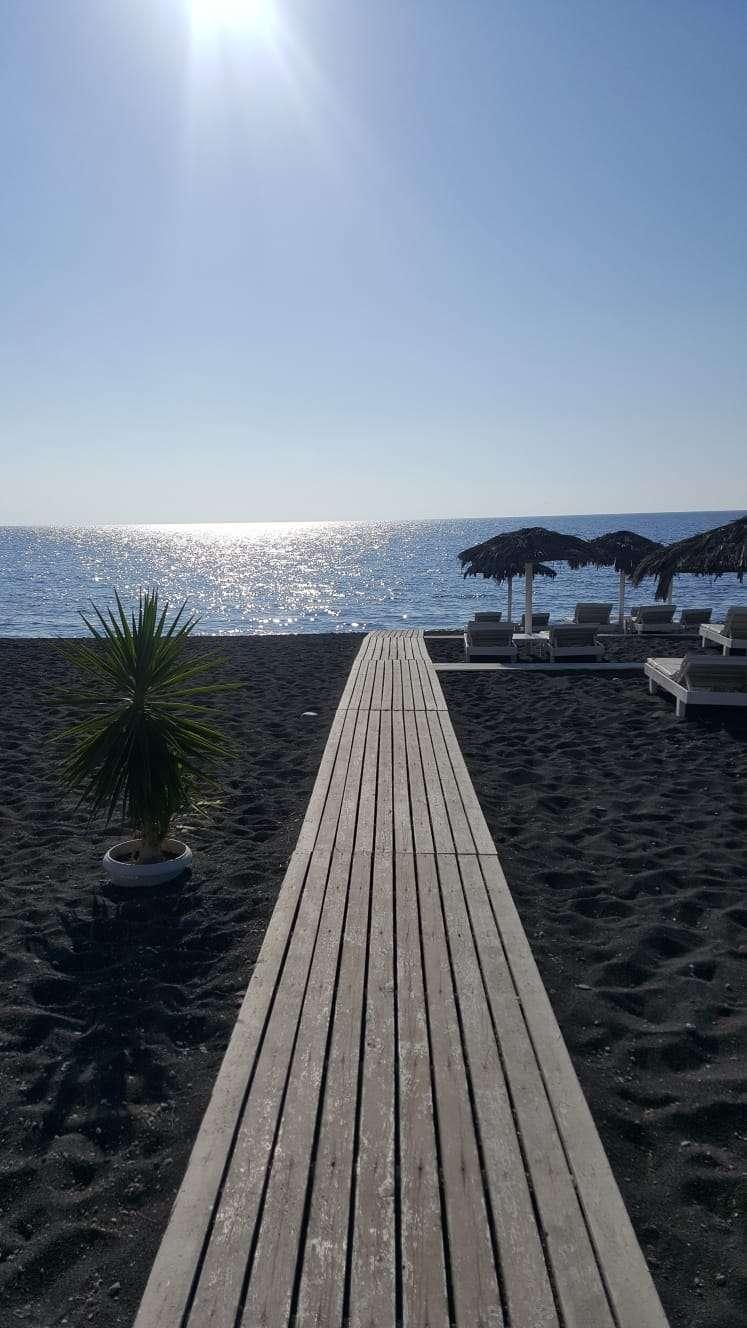 Griekenland, Santorini, Perissa zwart strand