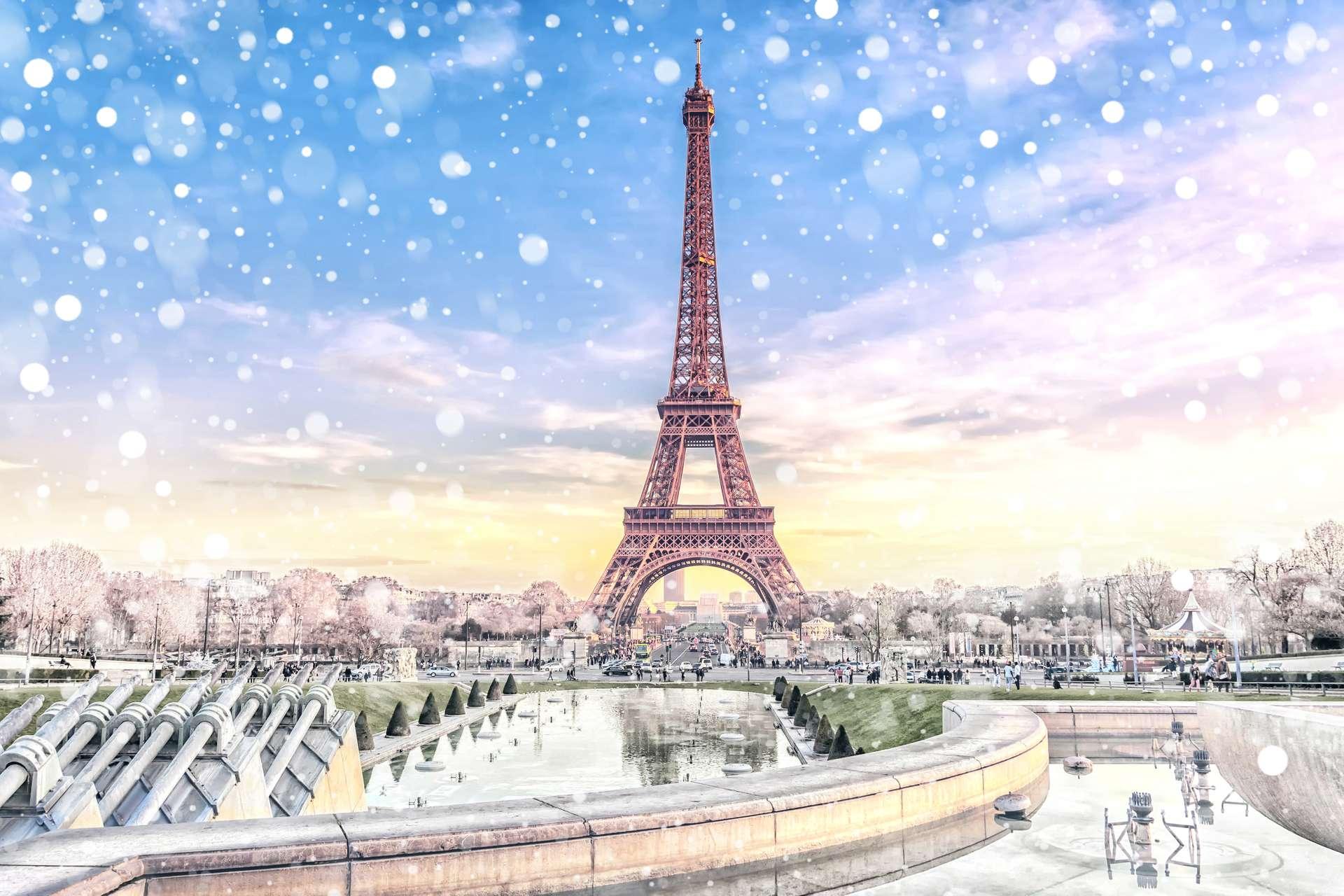 Frankrijk Parijs in de winter met sneeuw