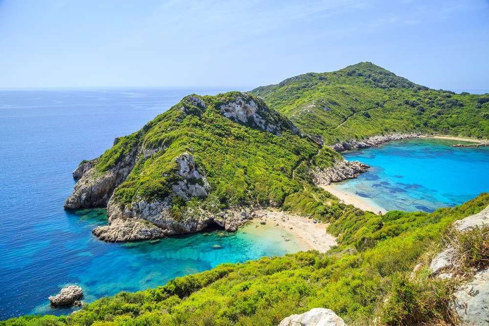 Griekenland Corfu Timoni strand Panoramisch uitzicht