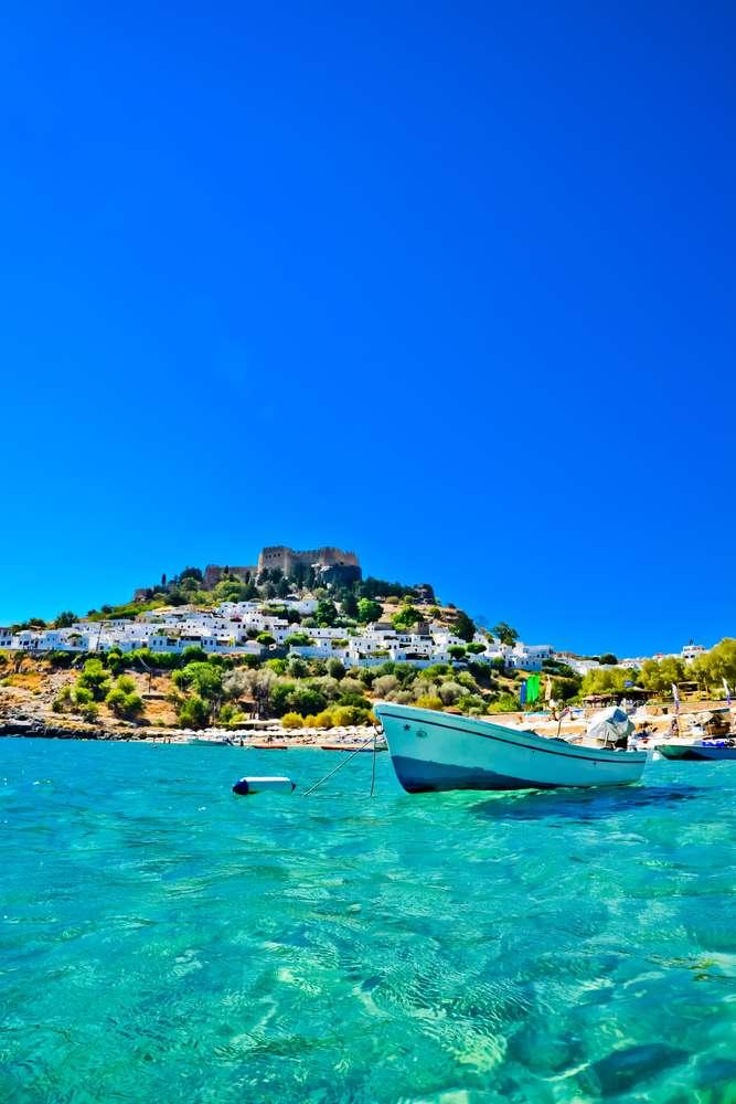 Griekenland Rhodos boot aan kust