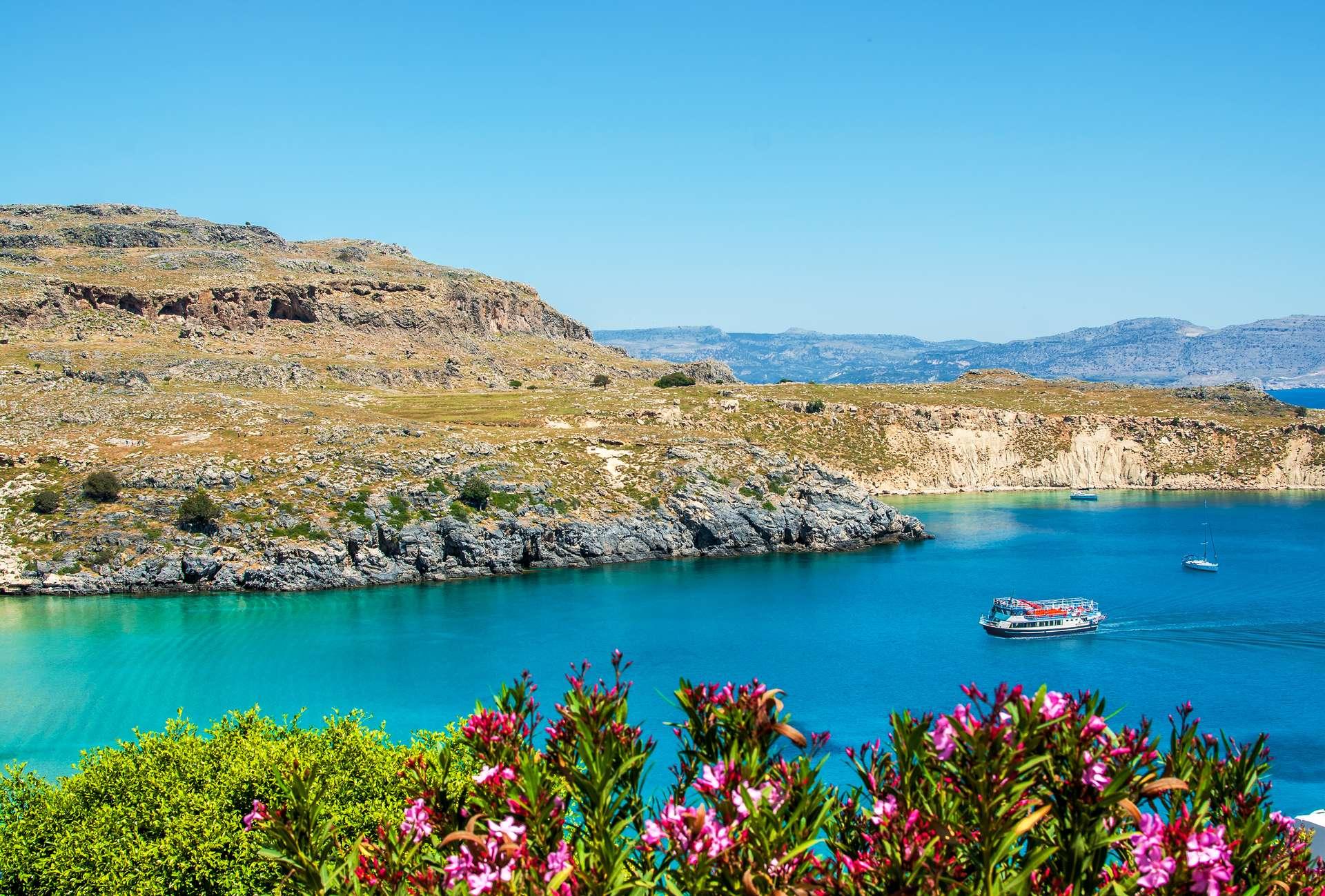 Griekenland Rhodos Lindos Acropolis Saint Pauls Bay