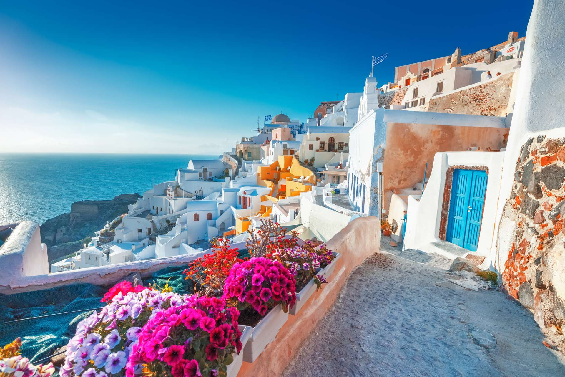 Griekenland Santorini witte huisjes met zee