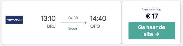 Heenvlucht van Brussel naar Lissabon voor €17