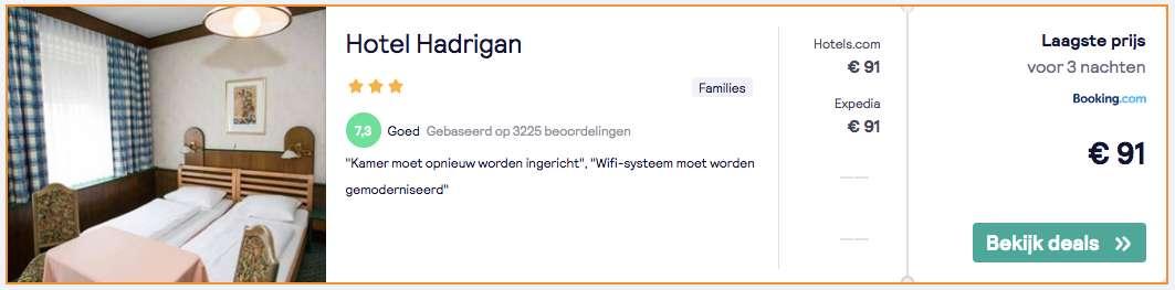 Hotel Hadrigan voor maar €91