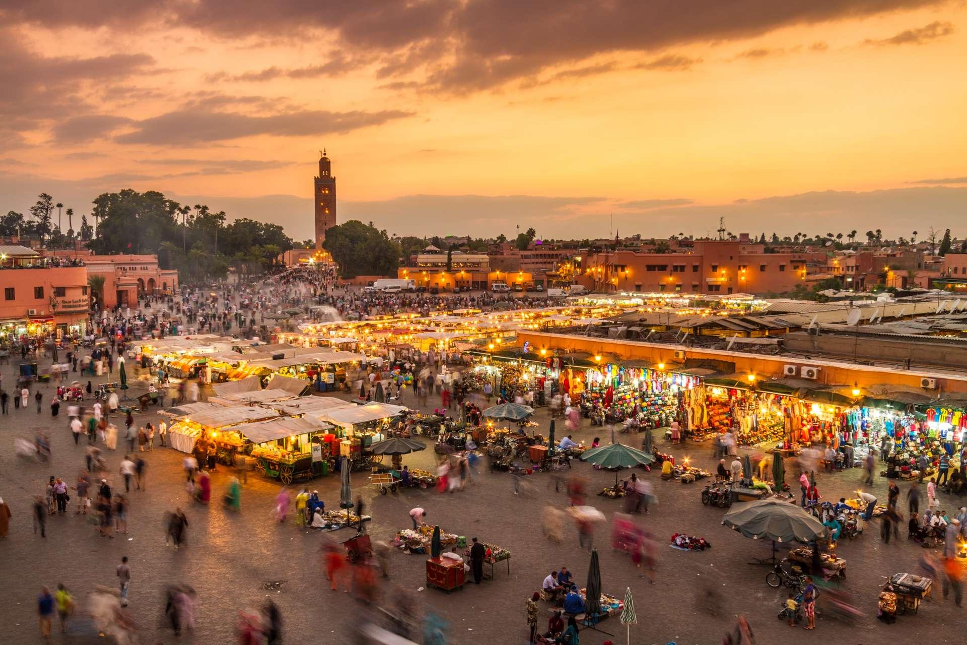 Morokko Marrakech Jamaa el Fna market square