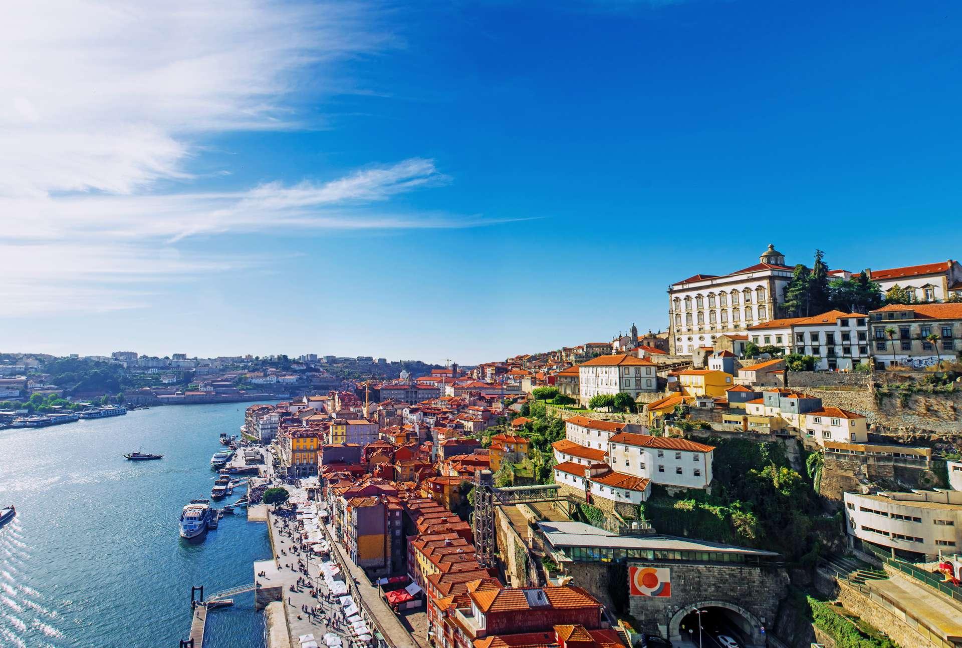 Portugal Porto skyline from Dom Luis bridge on the Douro River
