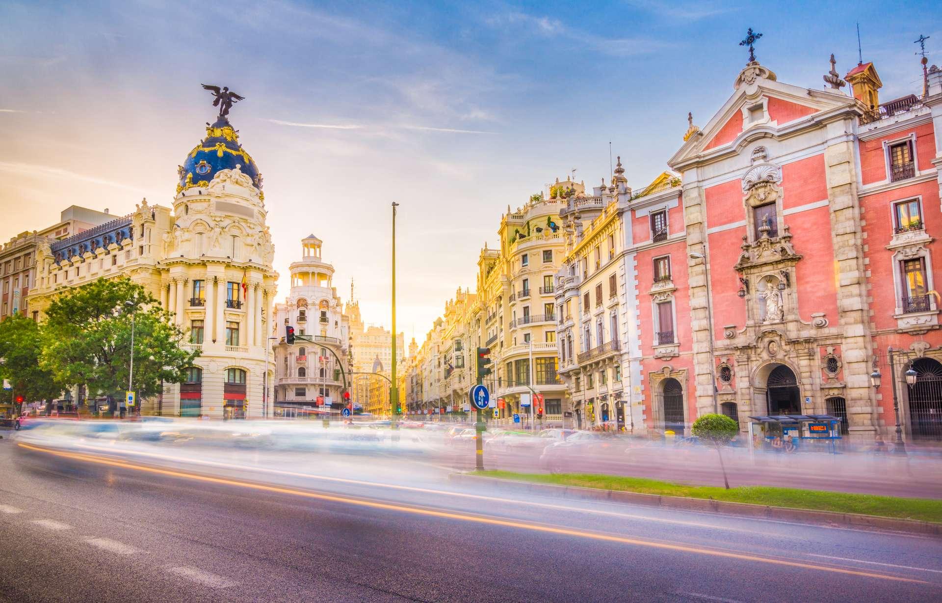 Spanje Madrid where the Calle de Alcala meets the Gran Via