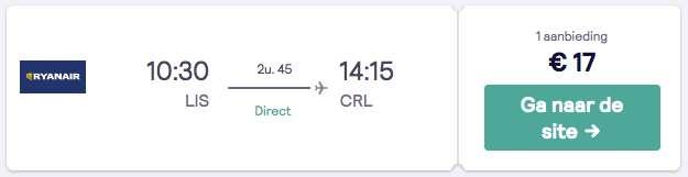 Terugvlucht van Lissabon naar Brussel voor €17