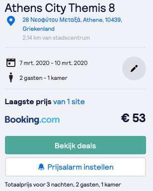 Verblijf Athene €27