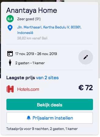 Verblijf in Bali voor €72