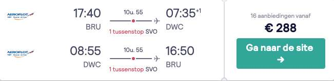 Vliegticket Dubai €288