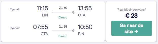 Vliegticket Sicilie voor €22