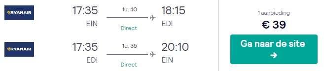 Vliegtickets Edinburgh €39